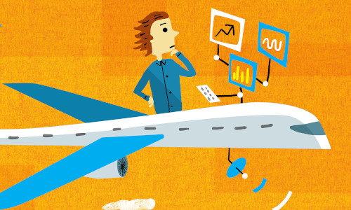 Illustration of a man on an airplane reviewing data on screens.